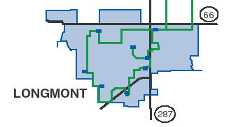 Map of Longmont Fiber Rings